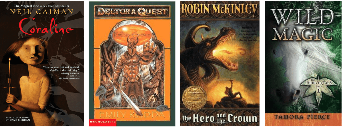 book covers: Coraline, Deltora Quest, The Hero and the Crown, Wild Magic