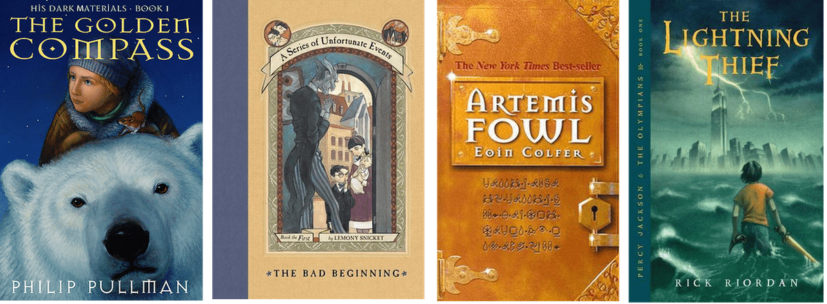 Book covers: The Golden Compass, The Bad Beginning, Artemis Fowl, The Lightning Thief