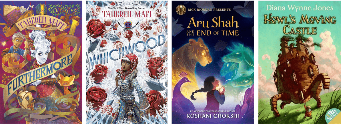 Book covers: Furthermore, Whichwood, Aru Shah and the End of Time, Howl's Moving Castle