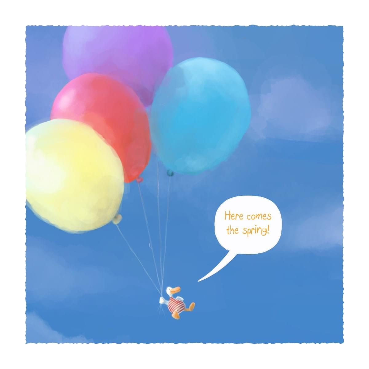 Springtime illustration, baloons, blue skies and happiness.