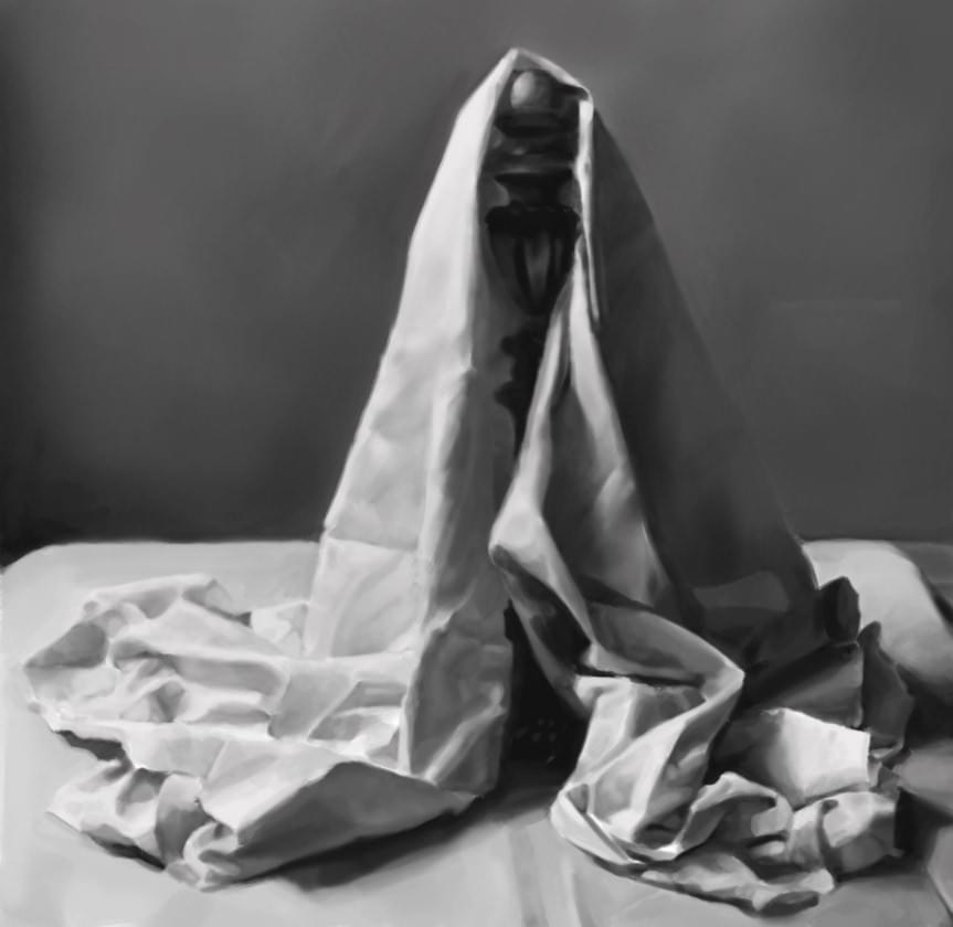 Black and white painting of a cloth. Sebastian Dahlström, 2017.