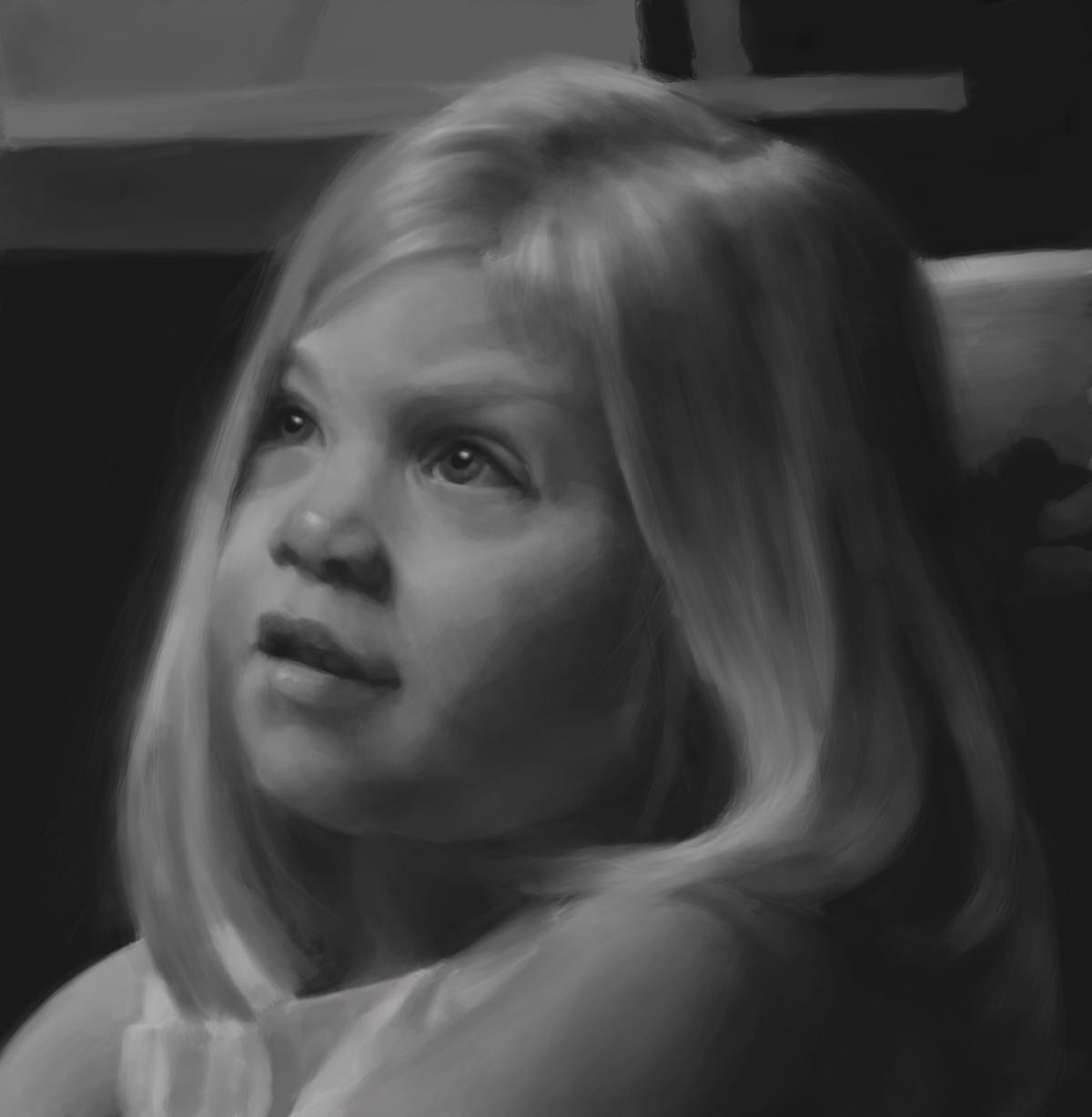 Monochromatic painting of a little girl, Sebastian Dahlström 2017.