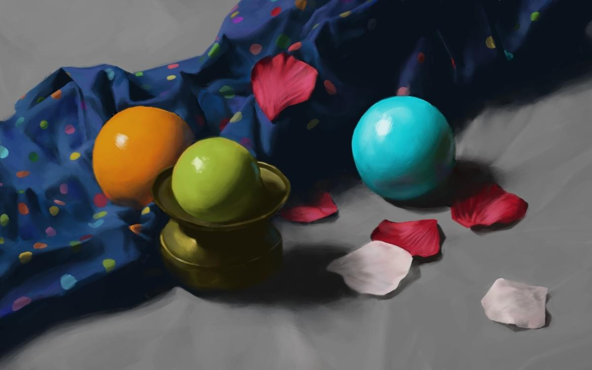 Balls and cloth. One of the paintings i did in the class. Sebastian Dahlström, 2017. (Copyright: Sebastian Dahlström, do not use without permission).