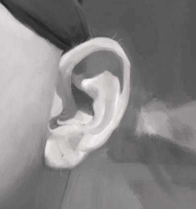 Monocromatic ear painting in realistic style. Sebastian Dahlström, 2017.