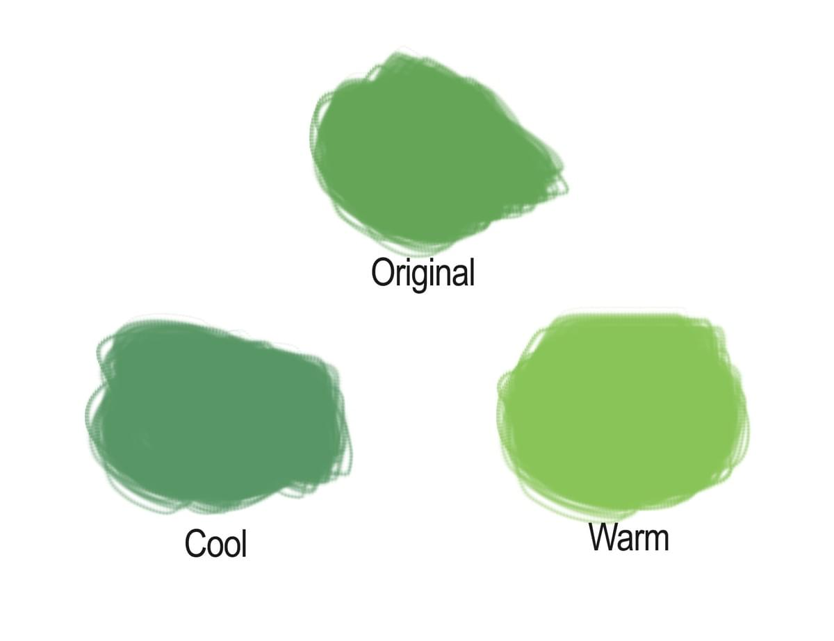 Making a color warmer or cooler. Green.