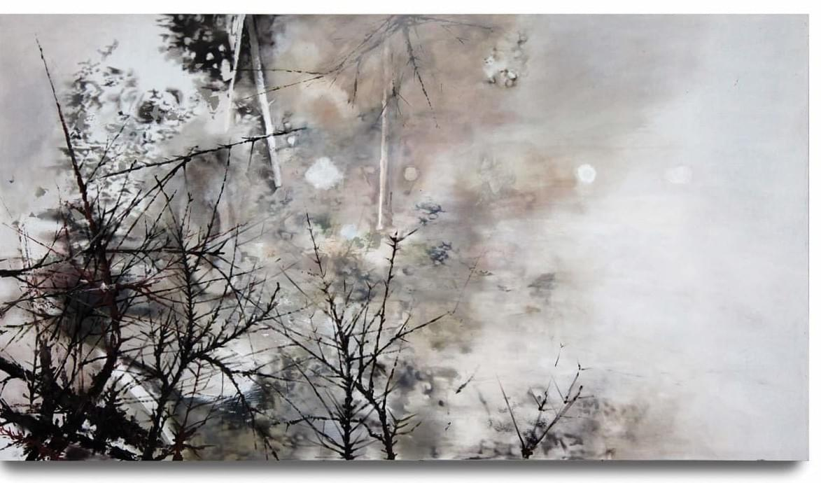 Painting - schilderij - Harm van den Berg - Backyard 2008, 122 x 220 cm, oil / acrylic on wood
