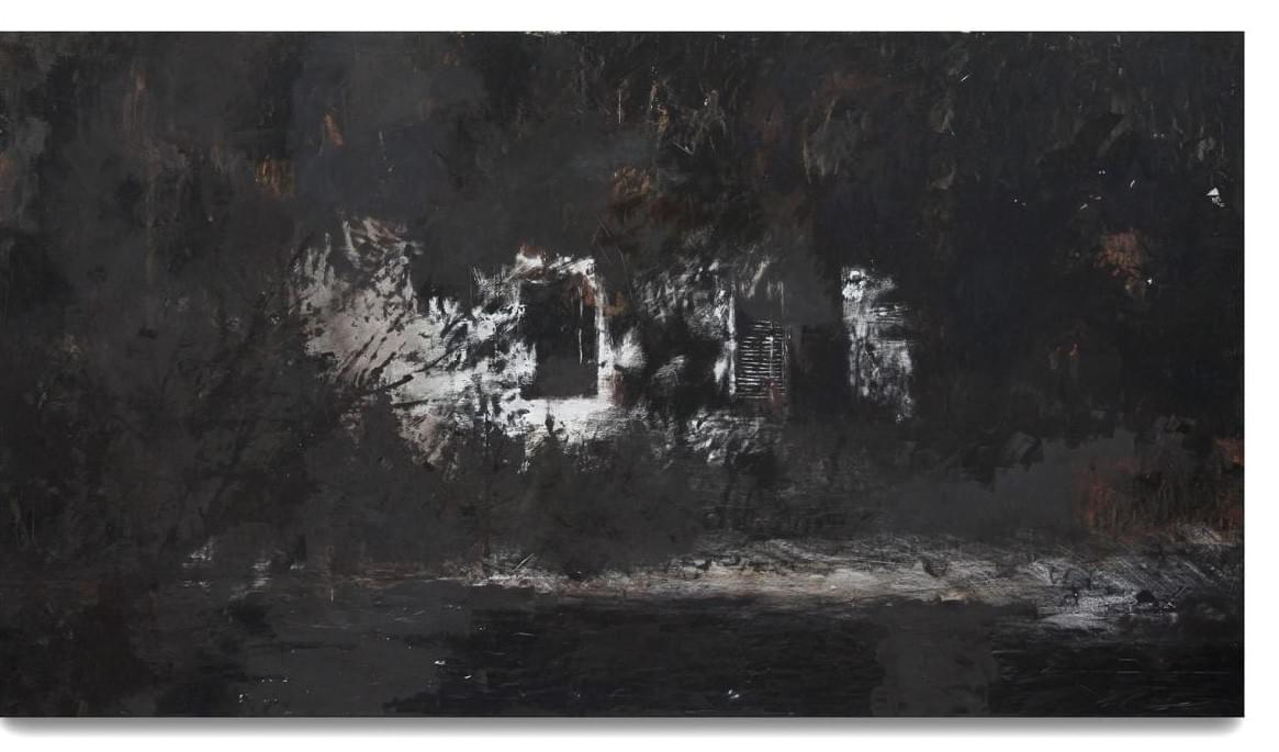 Painting - schilderij - Harm van den Berg - Bungalow, 2008, 122 x 22- cm, oil / acrylic on wood