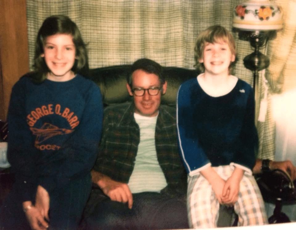 Photo from 1978 of my dad, sister, and me (right).