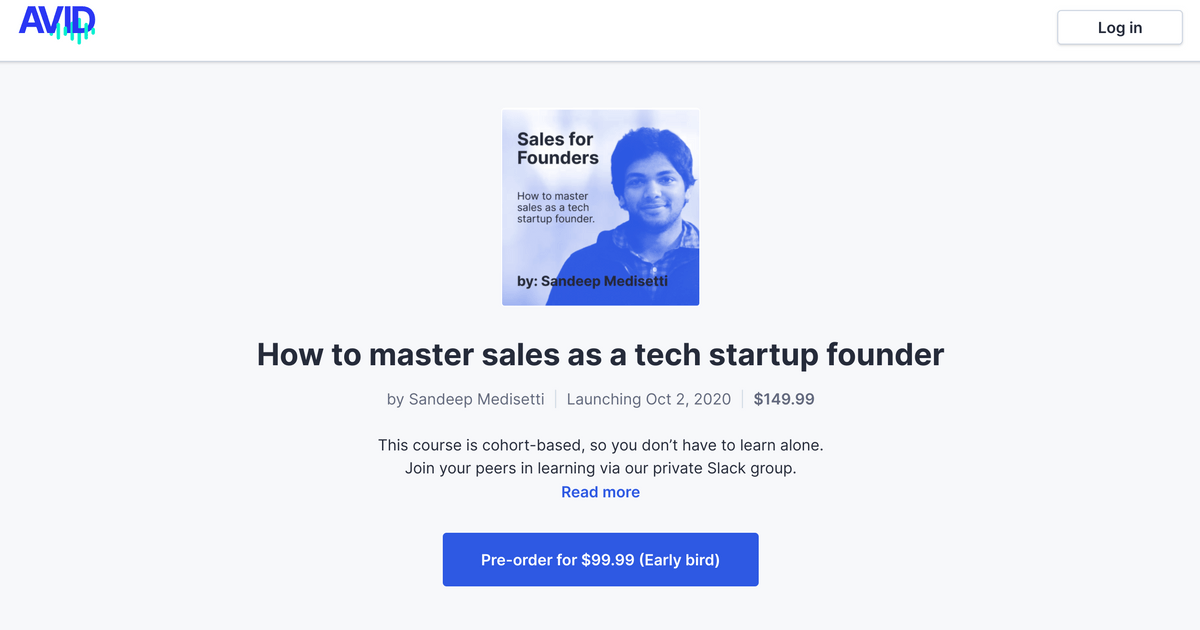 Course screen example audio course master sales as a tech startup founder by creator Aandeep Medisetti