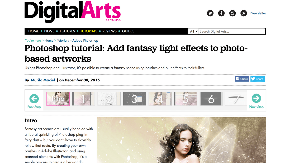Digital arts photoshop tutorial webpage screenshot