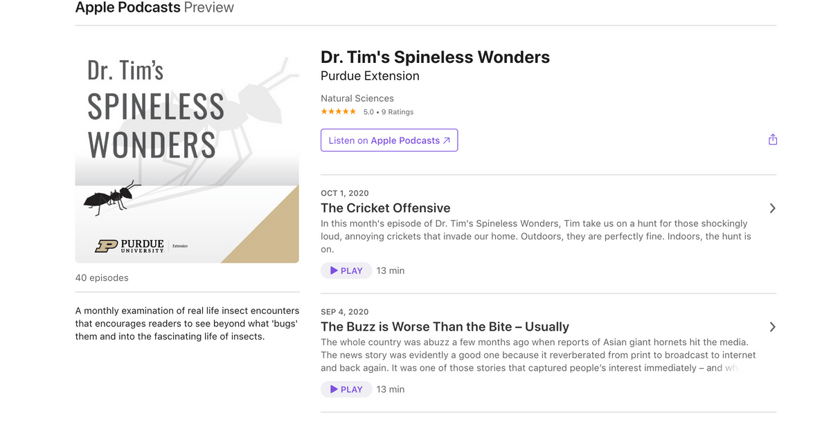 Dr. Tim's Spineless Wonders podcast by Purdue University