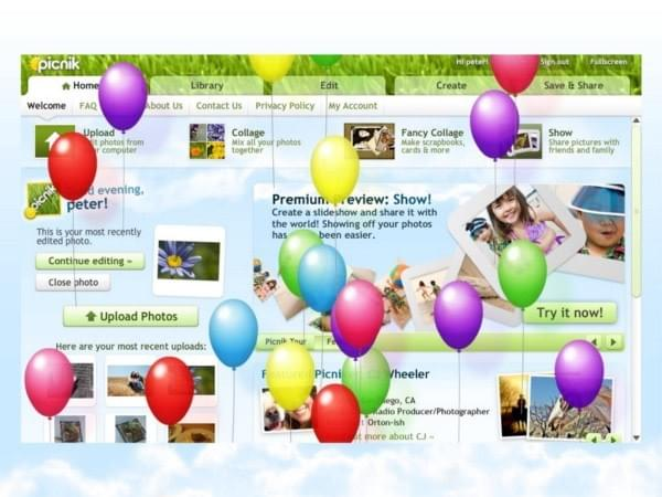 Picnik celebrating a new user