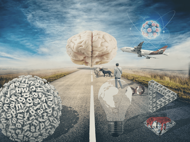 Image shows a two-way road with a brain at the far end of it. On one side of the road, images proceed towards one half of the brain. On the other, text.