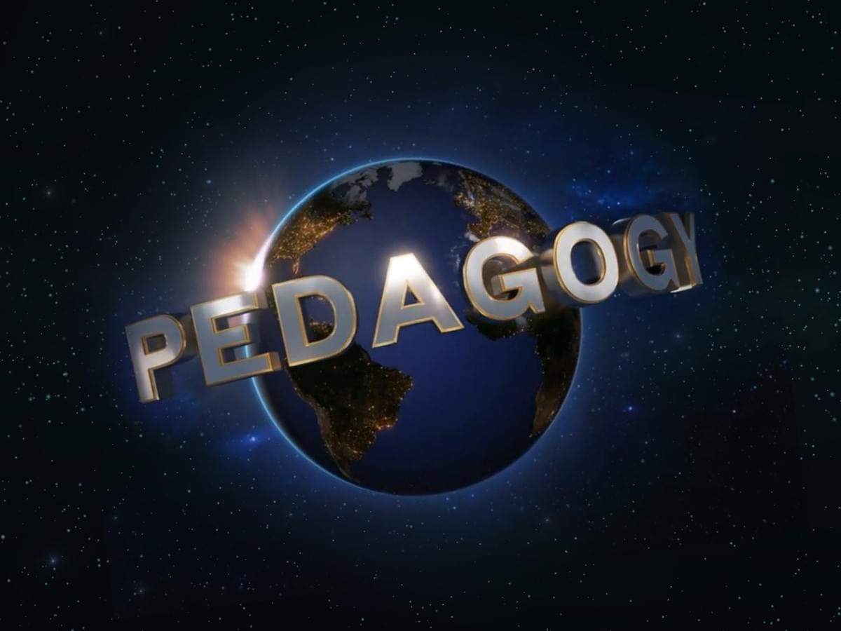 The idea of the image is to convey universality, recognizable from the world famous Universal Studios logo, and refocusing this on the word 'pedagogy'