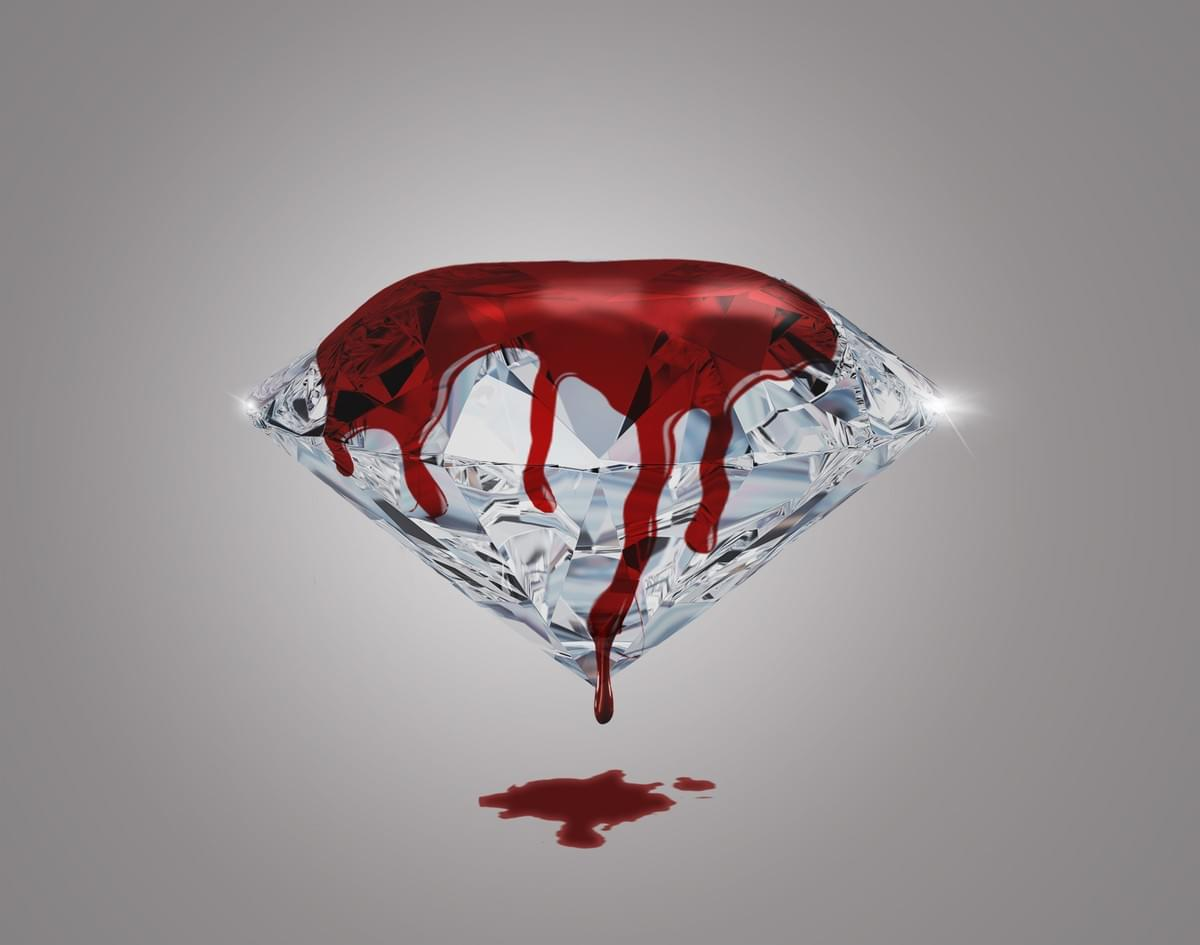 On a grey background is a shining diamond, with blood dripping from the top to the ground.