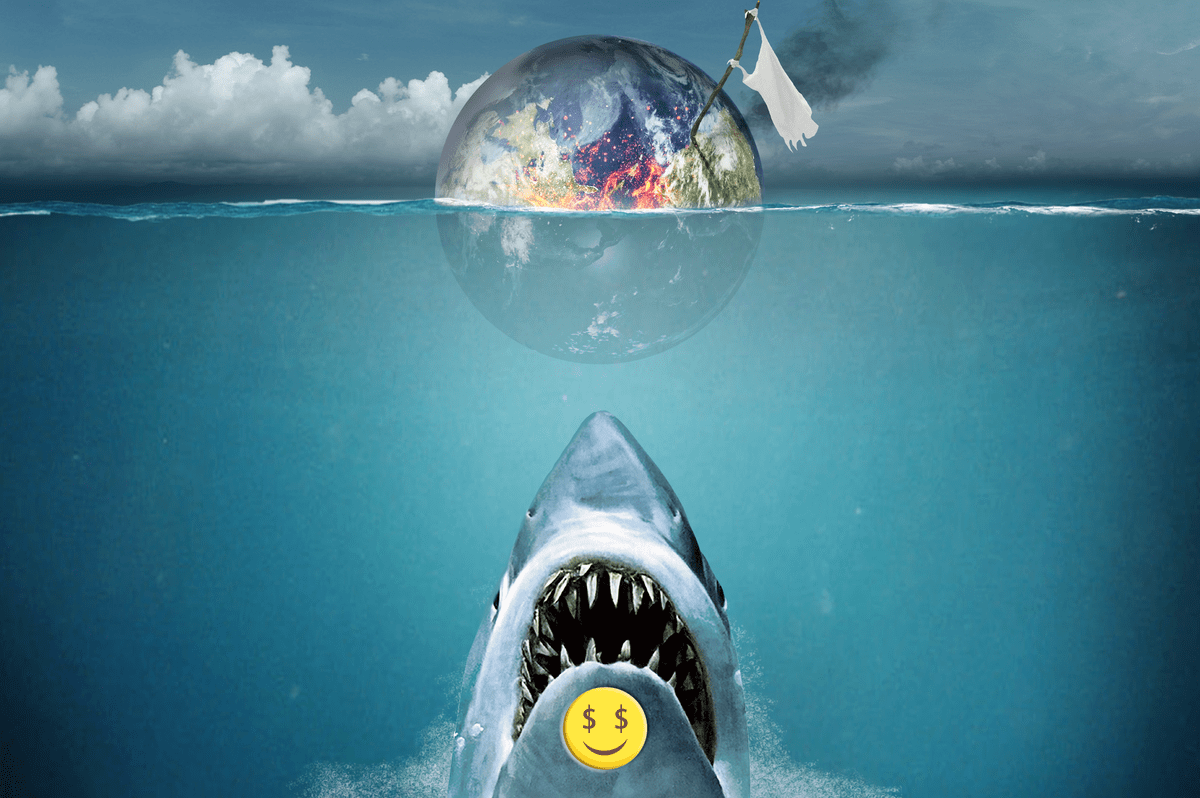 This image uses the iconic 'Jaws' poster as the basis for how capitalism in the form of the rising shark heading for the sea surface is about toi attack the swimmer (the planet, already drowning_