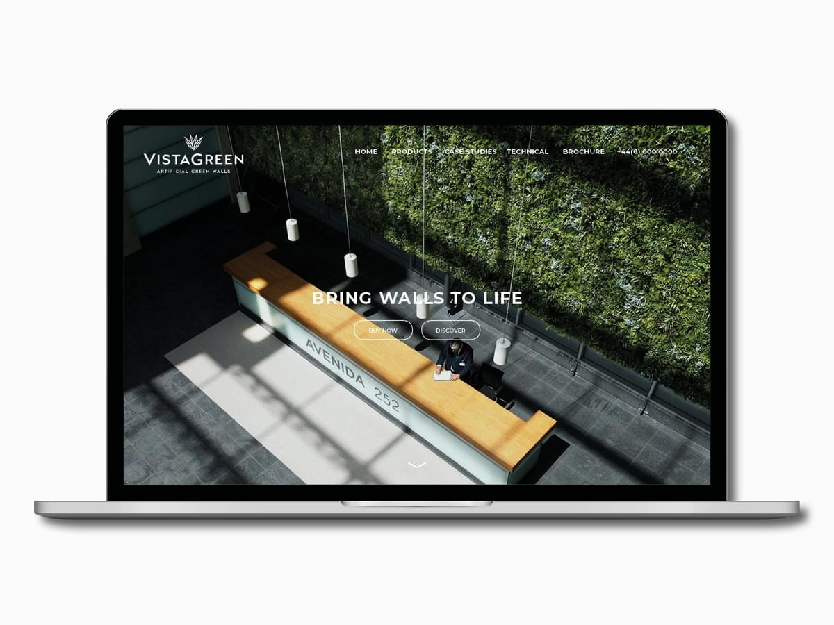 Vistagreen - Artificial green walls - brand identity and website design