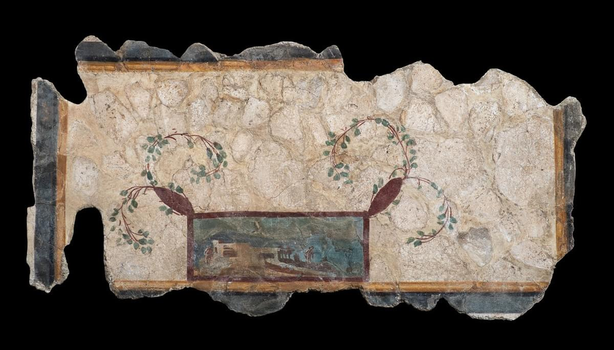 A Roman polychrome painted fresco fragment.  Third Pompeian Style, early 1st century AD. Kallos Gallery