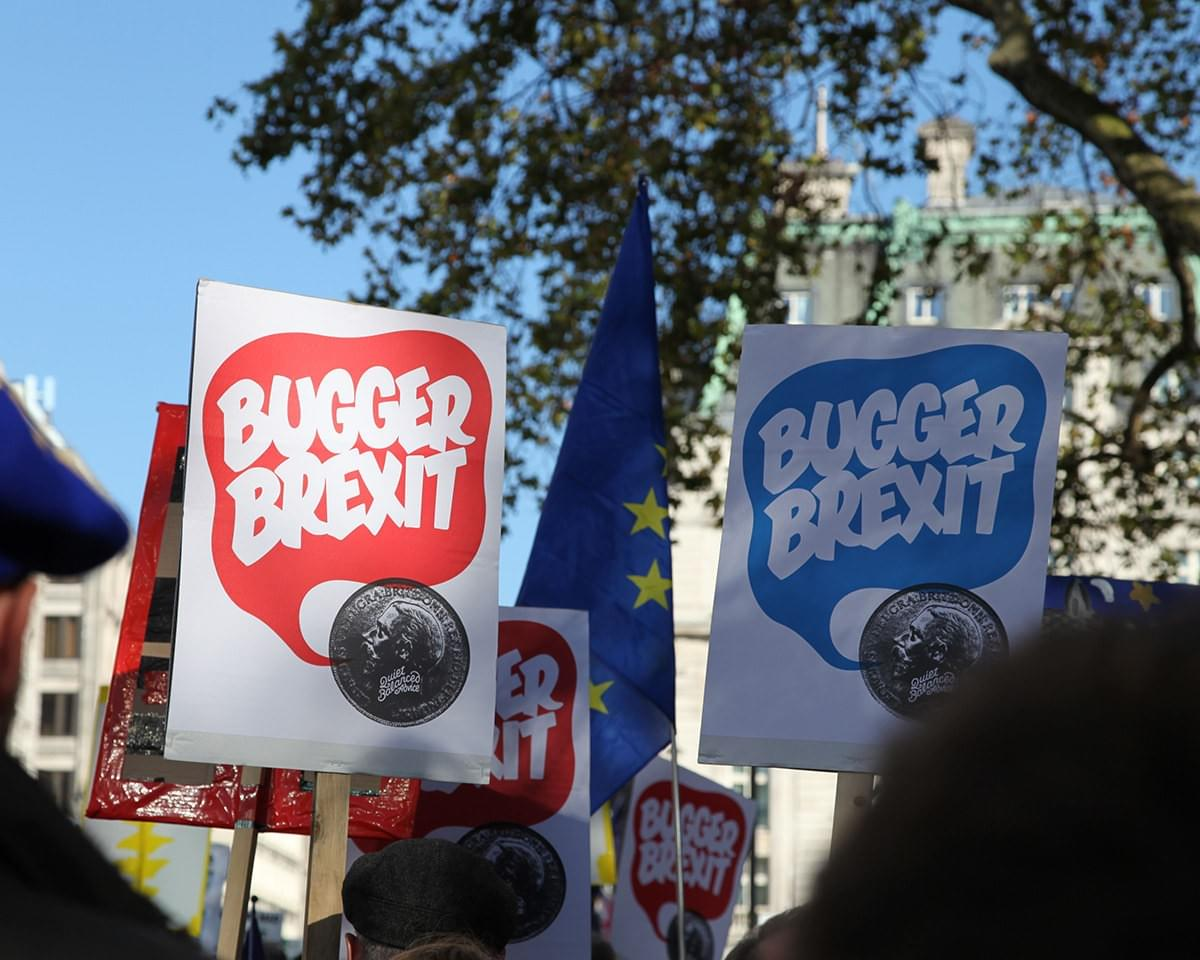 #buggerbrexit placards at the People's Vote march in London, 20th October 2018.