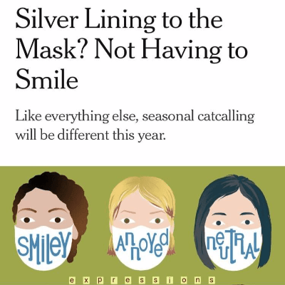 A drawing of three individuals wearing masks that read Smiley Annoyed and Neutral on a green background