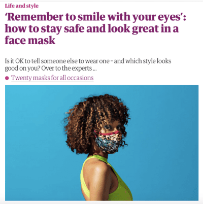 a picture of a woman wearing a mask on a blue background