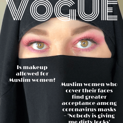 A homemade magazine cover featuring a woman in a black niqab and pink makeup.