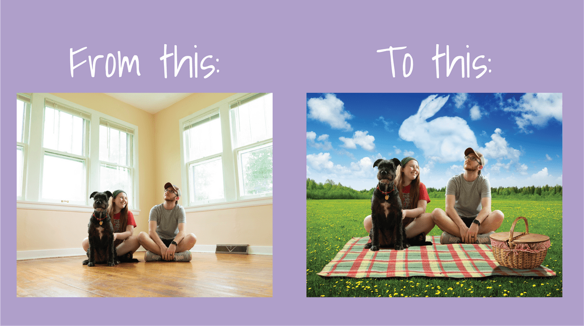 couple sitting on the floor with their dog inside a house with windows behind them in left picture, and in right picture couple is sitting on a blanket on the grass with their dog and blue skies and clouds behind them enjoying a picnic