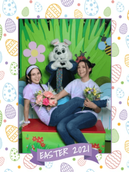 Play with floral arrangements in your 2021 Easter photo pose.