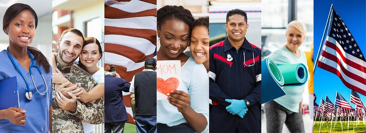 a collage of people that would be celebrating holidays during may - nurses, mothers, ems workers, military
