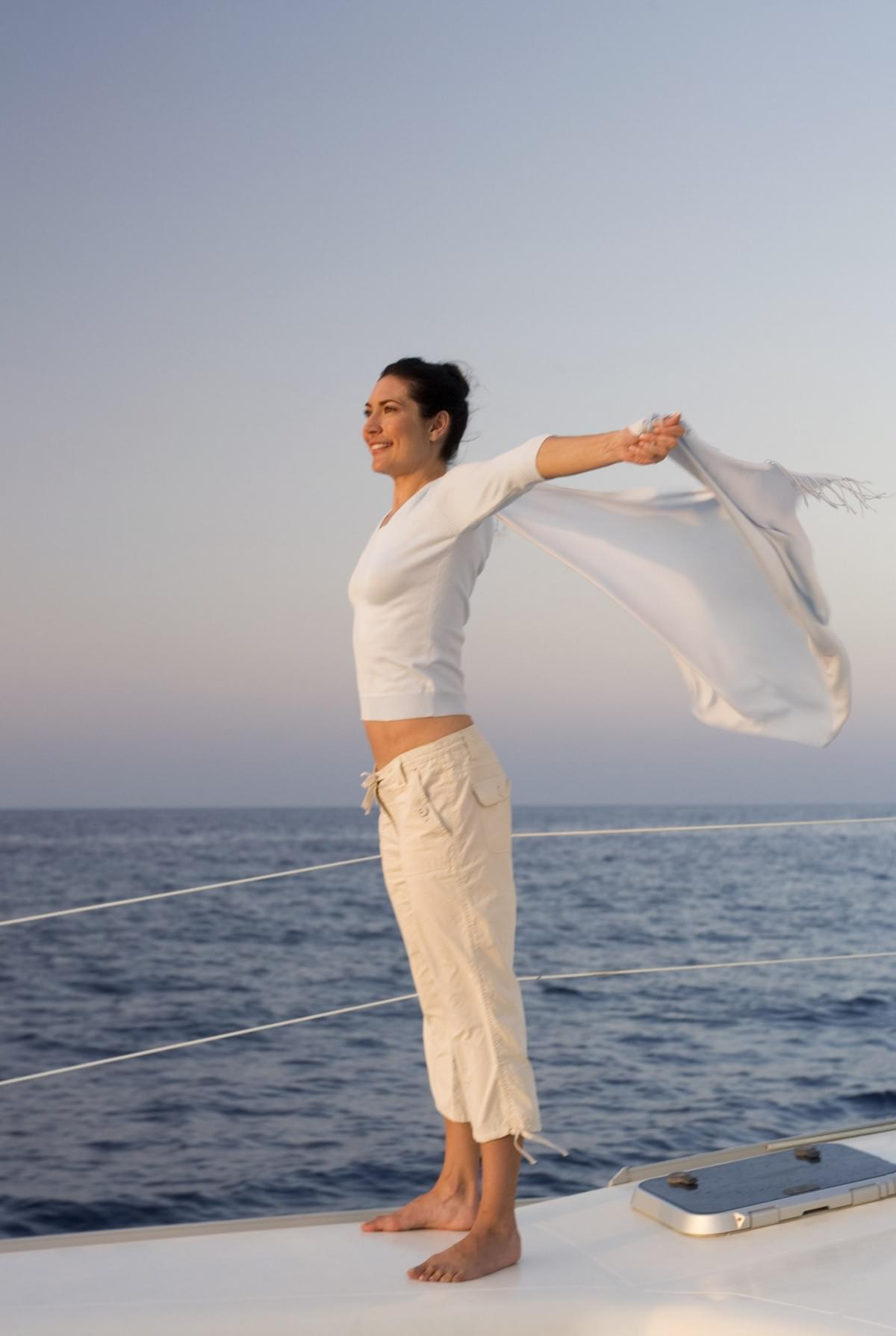 Yacht and yoga_ feeling the wind