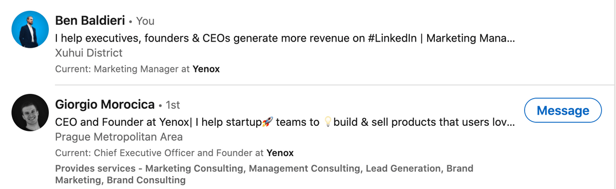 Good headlines here! ceo, yenox, executive, linkedin marketing