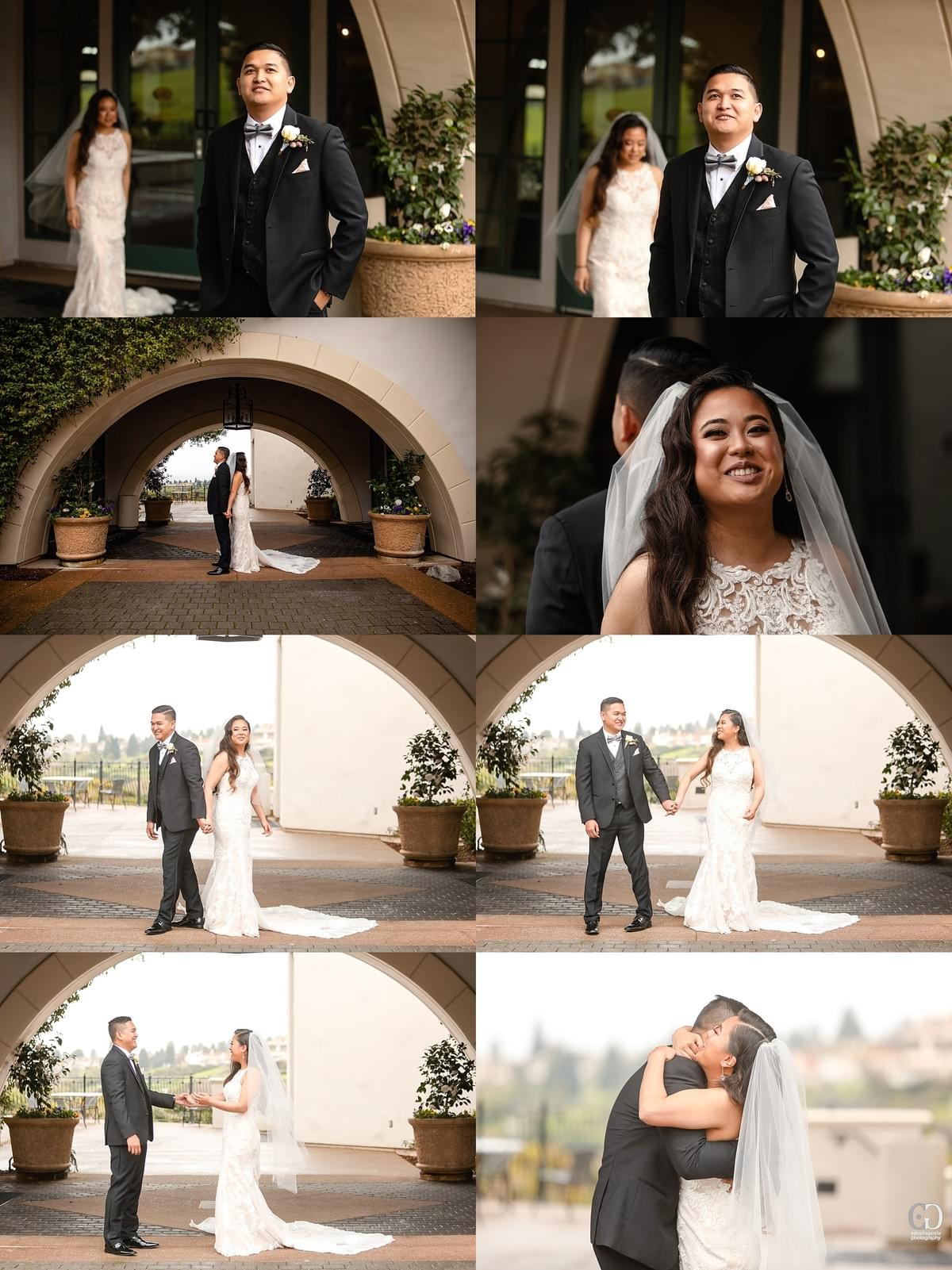 bridges golf club wedding san ramon photographer bride and groom first look arches filipino cambodian wedding