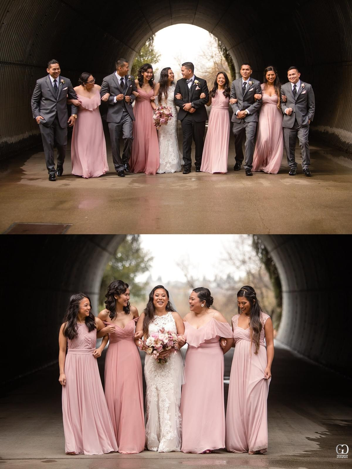 bridges golf club wedding san ramon photographer bridal party bridesmaids tunnel filipino cambodian wedding