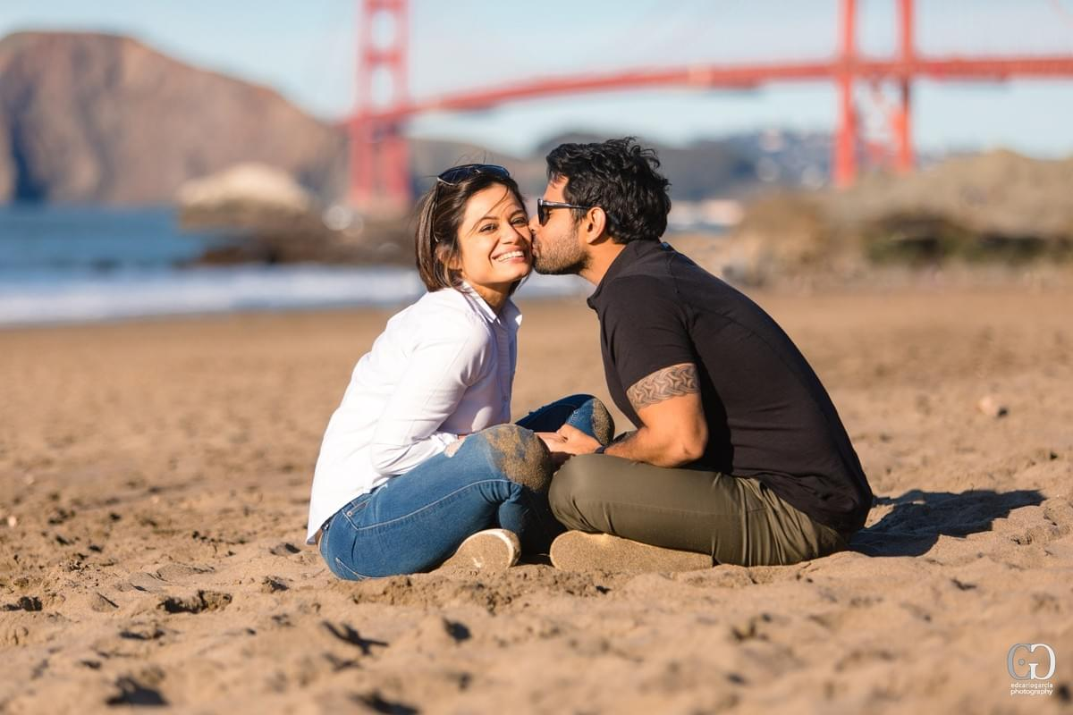 Engagement Proposal Photographer Baker Beach Golden Gate Bridge: Vivek and Sruti