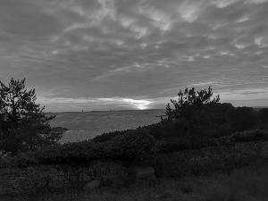 B&W sunset over Herm Island, Channel islands