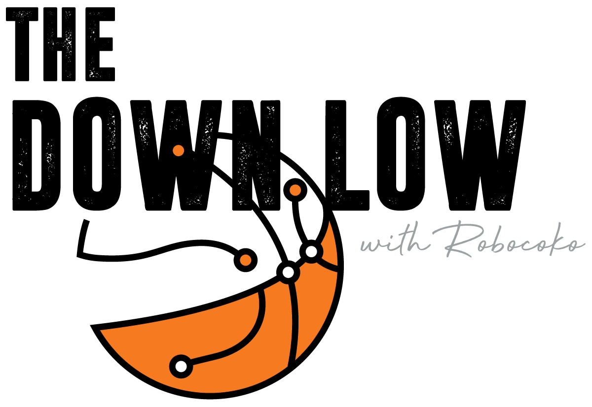 "Logo: ""The Down Low with Robocoko"" and orange and white basketball"