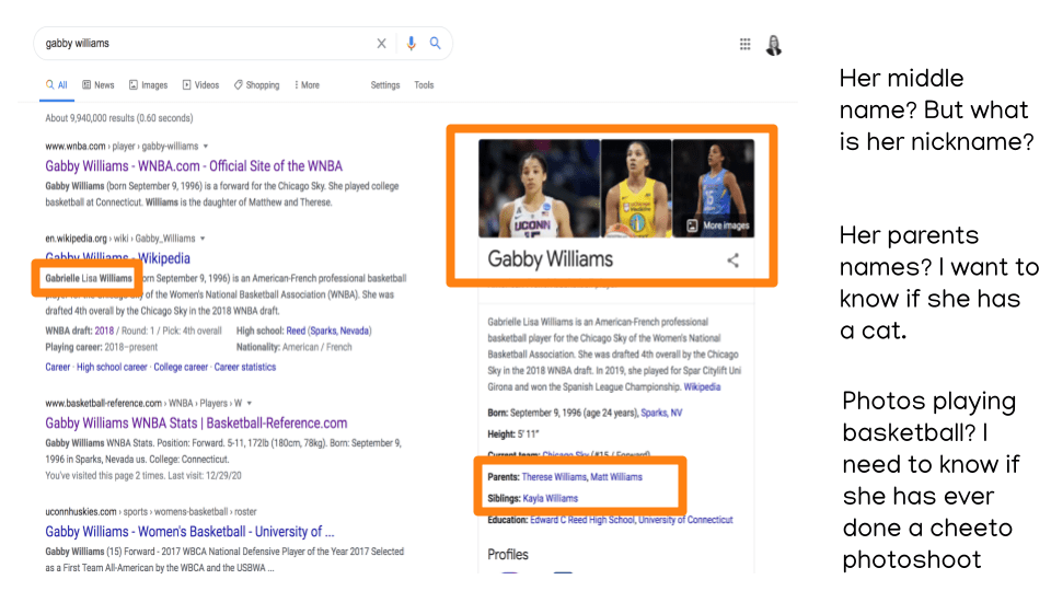 Google search of Gabby Williams. No nicknames, no cat, no cheeto photoshoot.