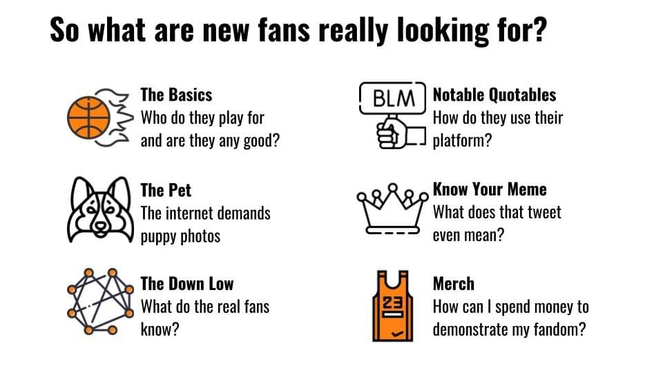 What do fans really want? The basics, the pet, the down low, notable quotables, know your meme, merch