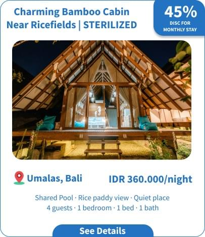 Long Term Villa Rental in Bali - Umalas - Charming Bamboo Cabin Near Ricefields
