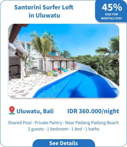 Long Term Villa Rental in Bali - Uluwatu - Santorini Surfer Loft in Uluwatu