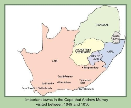 Important towns in the Cape that Andrew Murray visited between 1849 and 1856