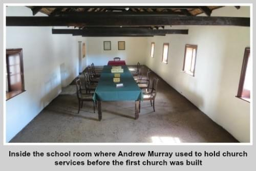 Inside the old school room in Bloemfontein where Andrew Murray used to hold church services