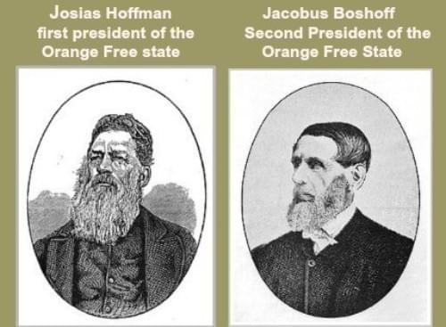 Frist two presidents of the Orange Free State: Josias Hoffman and Jacobus Boshoff
