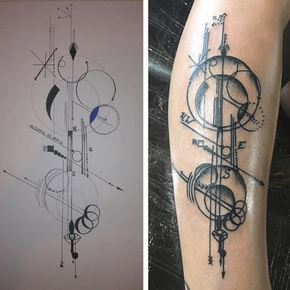 Alexis's drawing on the left, Michelle's tattoo on the right.