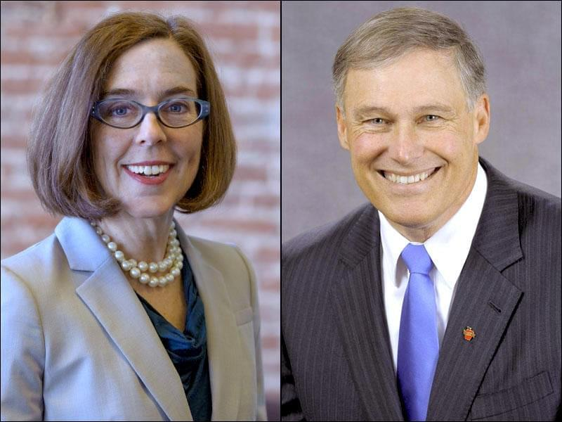 Governors Kate Brown and Jay Inslee (left to right)