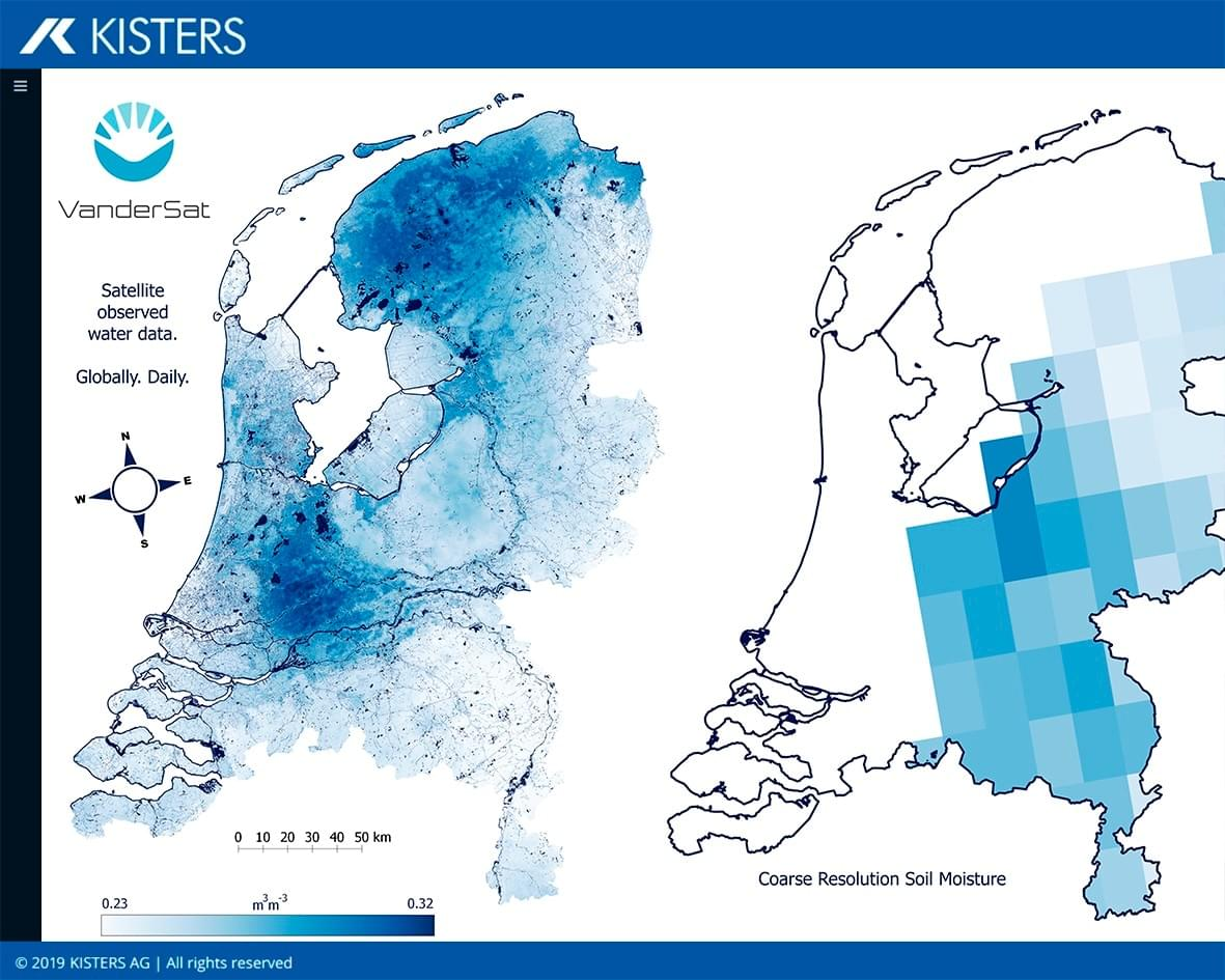 Image: The new service shows satellite-based soil moisture data and practical calculations for users' catchment area including drought indices, plant-available water at root level, and predictions of soil moisture. (Source: KISTERS / VanderSat)