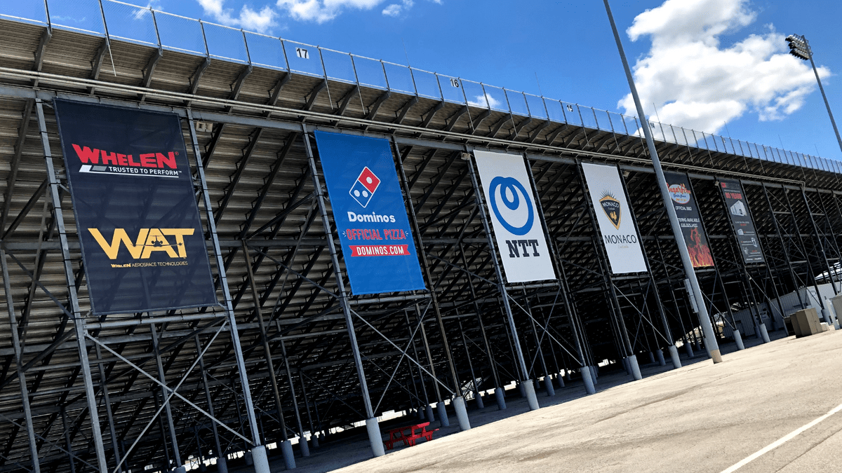 18'  x 24' Ad mesh banners across the main oval grandstand