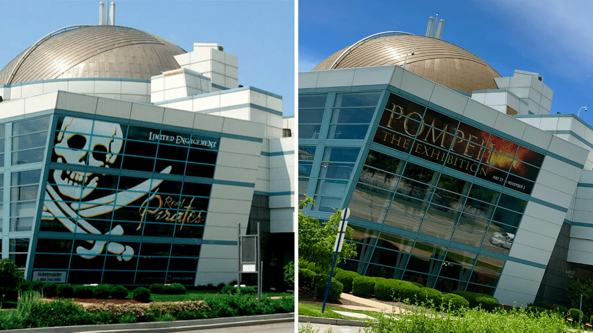 Window Graphics promotions mounted on St. Louis Science Center