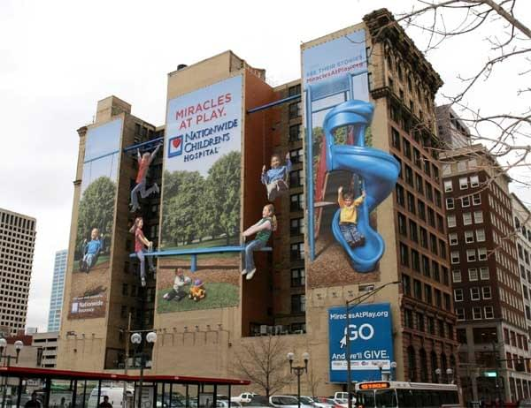 Nationwide Childrens Hospital fundraising wallscape promotion