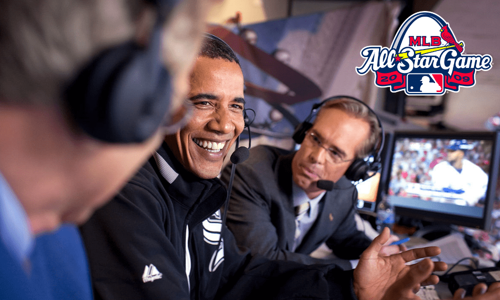 President Barack Obama joins Fox Sports announcers Joe Buck, right, and Tim McCarver, left, in the broadcast booth at the MLB All-Star Game in St. Louis, July 14, 2009.